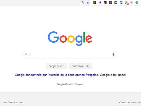 Google Condamné par l'autorite de la concurrence francaise