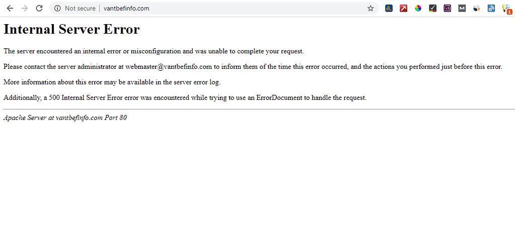 Error 500 server, vantbefinfo